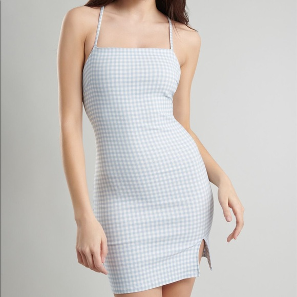 Garage Lace-Up Bodycon Gingham Dress